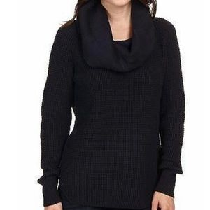 Michael Kors Black Waffle Knit Cowl Neck Thermal